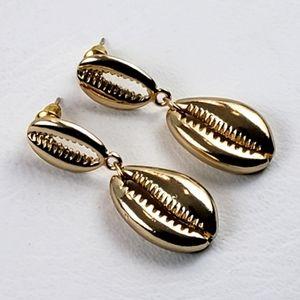 Cowrie Shell Gold Tone Dangle Earrings